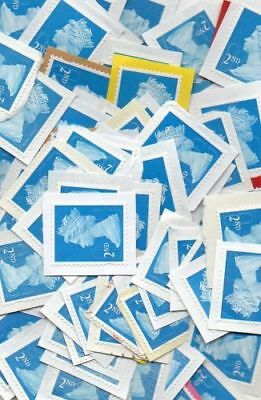 100 blue 2nd second Class Security Stamps on Paper Unfranked