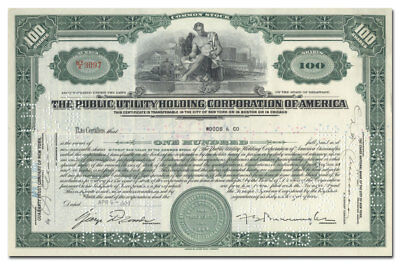 Public Utility Holding Corporation of America Stock Certificate