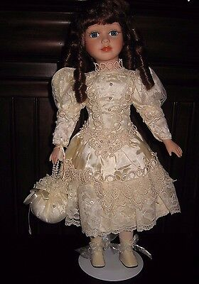 "19"" Victorian Red Hair Blue Eyes Porcelain Doll Satin Lace Pearls Wedding Dress"