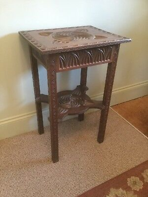 Antique Carved Oak Side / Lamp Table With Drawer Under Sn-p