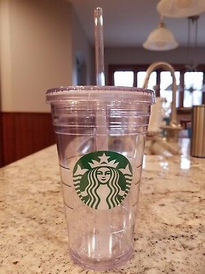 2 New STARBUCKS Clear Cold Cup Tumbler Grande 16 oz with Straw FREE SHIPPING