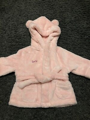 Baby Girls Personalised Sofia Pink Dressing Gown 0-6 Months