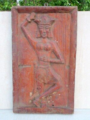 Antique Old Hand Wooden Hand Carved Tribal African Lady Figure Wall Panel Plaque