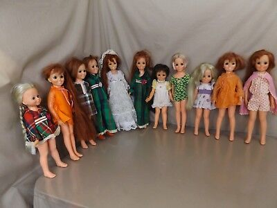 11 Vintage Ideal Crissy & Friends Doll Lot Velvet Mia Kerry with Clothes