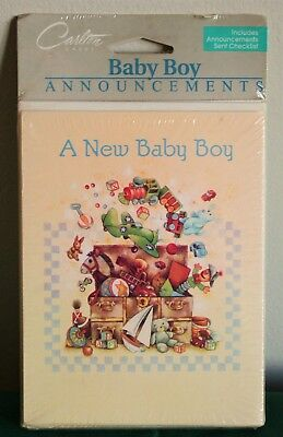 Carlton Cards~A New Baby Boy~Announcements~Stationary~8 PK !!