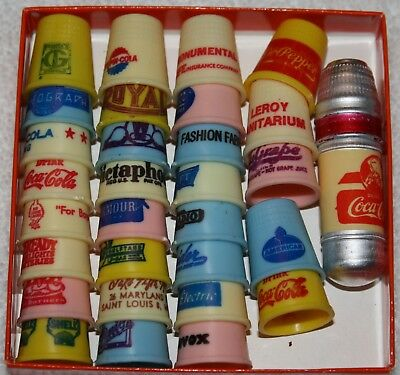 Vintage Sewing Thimbles Lot 30 Plastic Advertising All Diff ~ Old Factory Find!