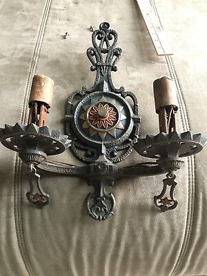 Vintage Cast Iron Ornate Victorian Sconce Wall Light Fixture