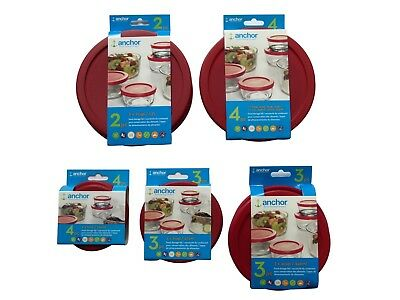 Anchor Hocking Meal Prep Replacement Cover Lid Set 1, 2, 4, or 7 Cups Red Round