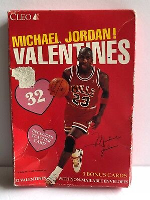 9a4fa82e58e091 Michael Jordan Valentines By Cleo Box Set of 32 Sealed New Vintage Cards