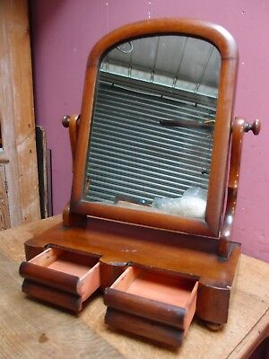ANTIQUE VICTORIAN MAHOGANY SWIVEL TOILET MIRROR WITH 2 DRAWERs in BASE