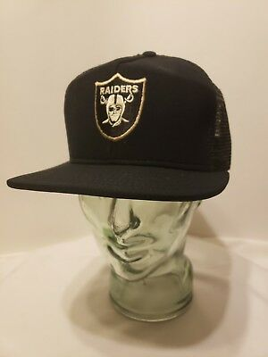 d8d17dc459a VTG NWT 80s Oakland Raiders Mesh Trucker Cap Hat NFL Football AJD L LOS  ANGELES