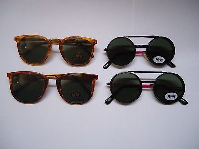 LOT of (4) Retro style FASHION SUNGLASSES for KIDS new FLIPS UP & DOWN 80s - 90s