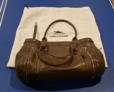 54653a4606ed Vintage Longchamp Grey Gray Rodeo Luxe Purse Shoulder Satchel Travel Bag  LEATHER