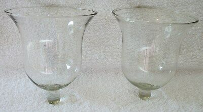 Home Interiors Homco 2 MILANO Clear Glass Bell Shaped Votive Cups Candle Holders