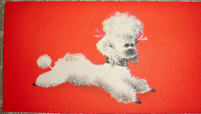 Vintage Mod Poodle Dog with Bling $ Glitter clad collar Christmas card Norcross