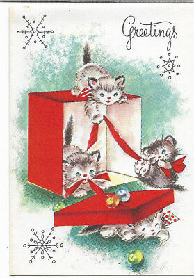 Vintage Kittens at play Red & White Christmas card