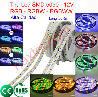Tiras Led Profesionales 5050, 12v, IP65, IP20, RGB, RGBW , RGBWW, alta calidad