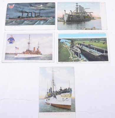 Lot of (5) Vintage BATTLE SHIPS Virginia, Olympia, Rhode Island Post Cards
