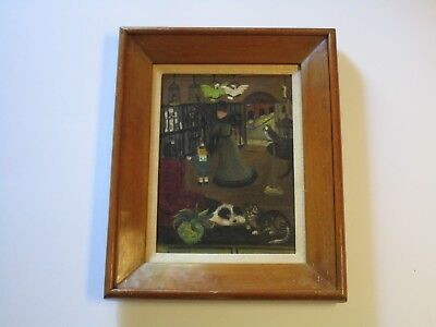Antique 19Th To 20Th Century Masterful Folk Painting Naive Animal Store Amazing!