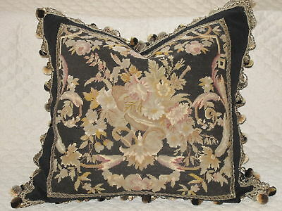 Dramatic Victorian 19Th C Antique Floral Needlepoint Tapestry Woolwork Pillow