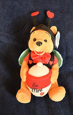 Disneyland WINNIE THE POOH VALENTINE BEE MINE Mini Bean Bag Plush - NWT