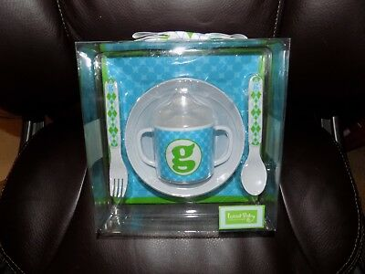 """MudPie Initial """"g"""" Feeding Set Blue & Green 5-Pc Sippy Cup Bowl Spoon Fork NEW"""
