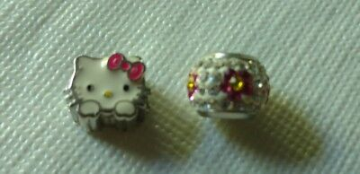 Hello Kitty Sanrio Individuality Bead Set Of 2 Beads Nwot Sterling Rare Cute Cat