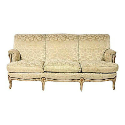 Fine 1930 Antique Louis XV Style Painted Gilt Sofa Settee Loveseat Chaise Couch