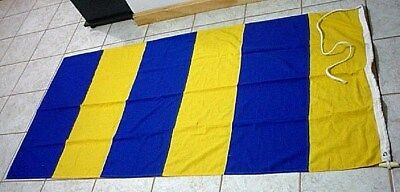 """Vintage Maritime Nautical signal flag 71"""" x 35"""" letter G Blue and Yellow stripes"""