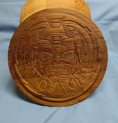 Northwest Coast First Nations Haida Wood Drum Box, Signed Clarence A. Wells, Bc