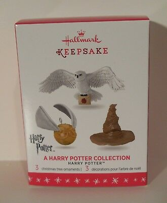 2016 HALLMARK A HARRY POTTER COLLECTION Sorting Hat Golden Snitch Hedwig Set 3