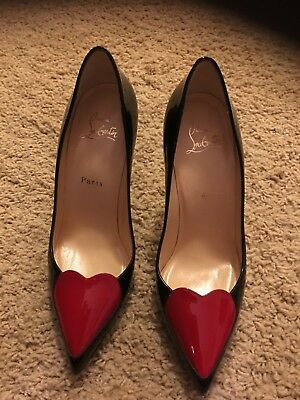 1bfa94d45372 CHRISTIAN LOUBOUTIN RED Black Heart Heels Pumps 38 -  778.00