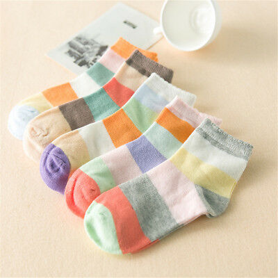 5 Pairs Pack Baby Boys Girls Kids Patchwork Anti-slip Cotton Ankle Socks 0-8T