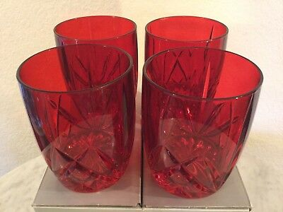 """Marquis By Waterford Crystal """"Brookside"""" 4 Red Double Old Fashioned Glasses. NIB"""