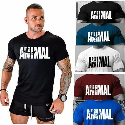 New 2019 Animal Gym Fitness Print T shirt Men Cotton O Neck Muscle Bodybuilding