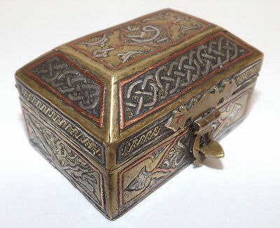 Antique 19th Century Middle Eastern Small Brass Silver & Copper Inlay Casket