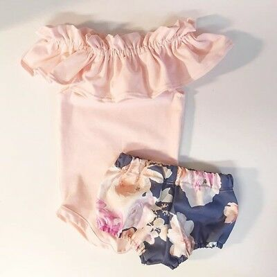 AU Newborn Baby Girls Sleeveless Tops Romper Flower Pants Shorts Outfit Clothes