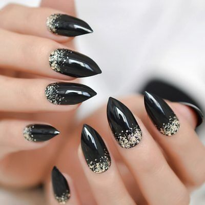 Black French Stiletto Easy Wear Bling Glitter Sharp Press On DIY False Nails