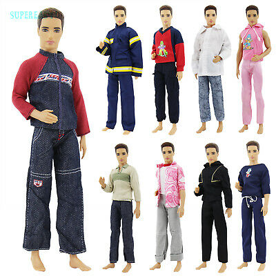 3 Outfits Sportswear Jacket Shirt Coat Pants Casual Clothes For Barbie Ken Doll