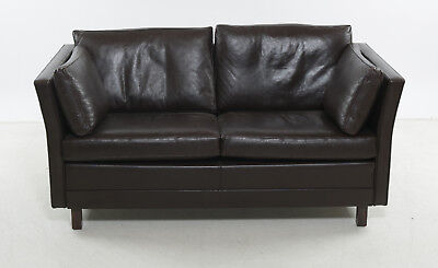 Danish vintage 2 seater brown leather sofa