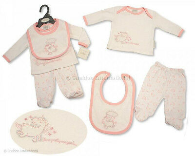 Baby Girls Unicorn Design Set  Pink & White Top Trousers & Bib Layette Outfit