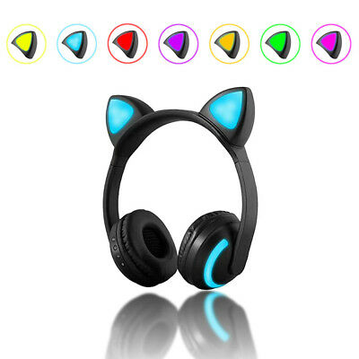 Cat Ear LED Wireless Bluetooth Headphones Stereo Gaming Headset W/Mic Cool AS#^