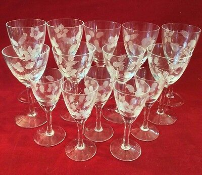 Vintage Crystal Flower Leaves Frosted Etched Stem 13 Sherry /Cordial/wine/Liquor