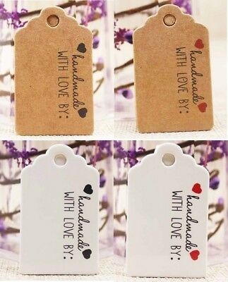 Craft Paper Tags 'HANDMADE WITH LOVE BY' Hand Made Gift Tag 5x3cm