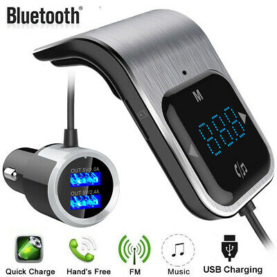 LED Touch FM Transmitter Bluetooth Handsfree Car Kit MP3 Player Dual USB Charger