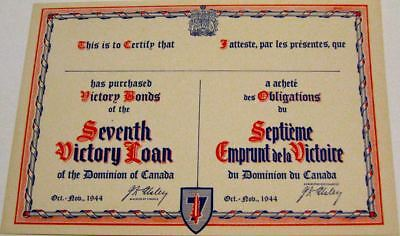 1944 Ww 2 Canada Seventh Victory Loan Certificate- Mint