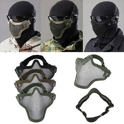 Steel Mesh Half Face Mask Guard Protect For Paintball Airsoft Game Hunting 0W7