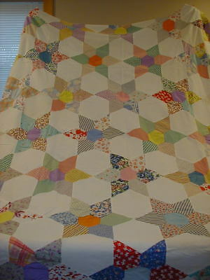 """Vintage Quilt Top Feed Sack? Star 54"""" x 70"""""""