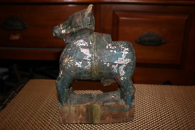 Antique Chinese India Asian Wood Carving Bull Horse Cow-Aged Patina Nandi Bull
