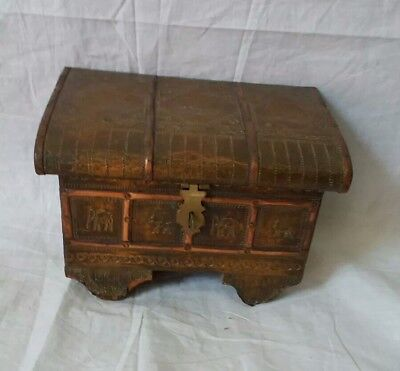 Vintage WOODEN JEWELLERY/Trinket BOX Teak Wood With Brass Inlay Treasure Chest